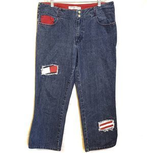 Tommy Hilfiger Patched Cropped Jeans Vintage 2002